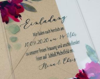"ACRYLGLAS Wedding Invitation ""Salb&Weinro Acrylic"", Custom Wedding Invitation Card, Wedding Card incl. Envelope, Acrylic Card"