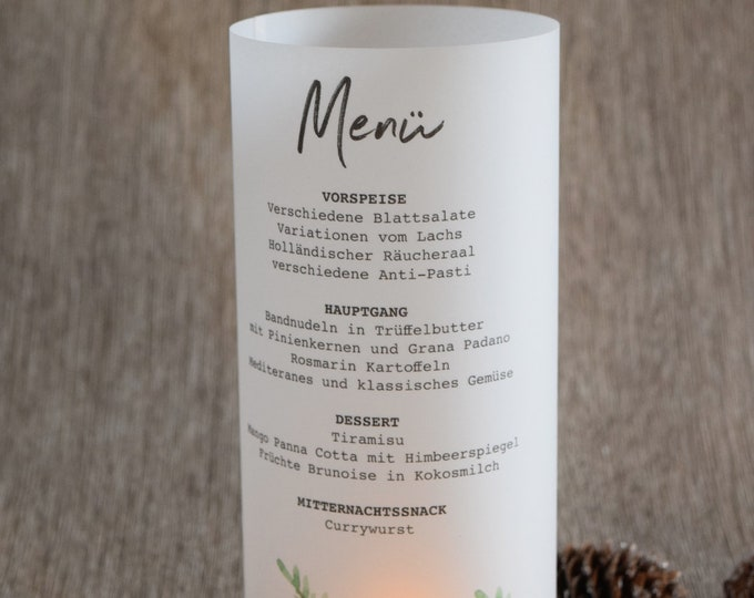 """Menu light, menu menu """"herbal love"""" lit, individually printed menu, menu for the wedding"""