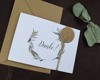 "Thank you card MAXI ""blooming love"" to the wedding, folding card to wedding, individually printed card incl envelope, thanksgiving wedding"