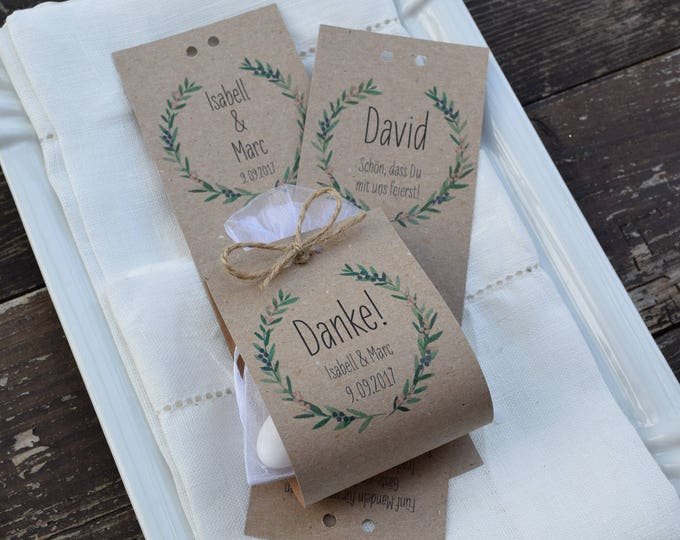 "Guest gift wedding ""juniper love"" vintage, gift for wedding guests, individually printed, place card"