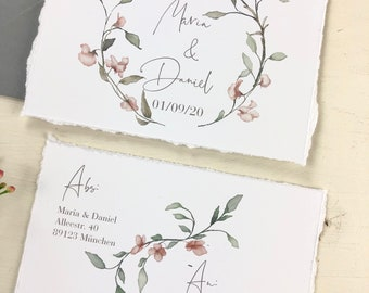 "Save the Date Card Wedding ""Pastel Flowers"", Wedding Announcement, Wedding Card, Save the Date Card vintage"