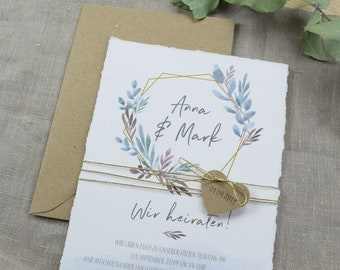 "Wedding invitation ""Boho Love"" A5 including envelope, wedding card, invitation card in watercolor design"