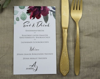 Menu Card Wedding Motif -Sage&Wine Red