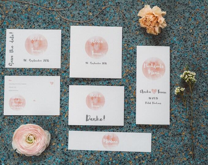 """Wedding Invitation-""""Peaches"""" watercolor"""