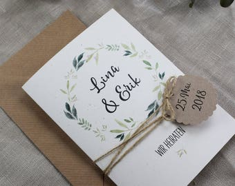 Wedding invitation incl. daily routine, personalized invitation card, wedding, wedding card with pendant