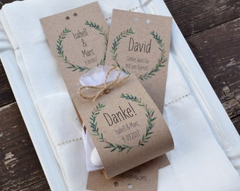 """Favors Set Wedding """"Wacholder Love"""" vintage, gift for wedding guests, custom printed, place card"""