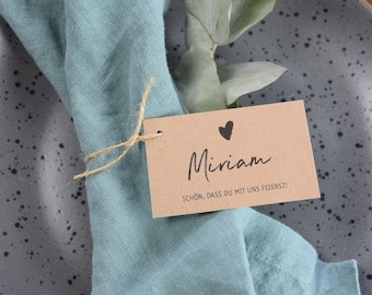 Pendant table card printed on kraft paper/ square card wedding, pendant, perfect for baptism & birthday, kraft paper