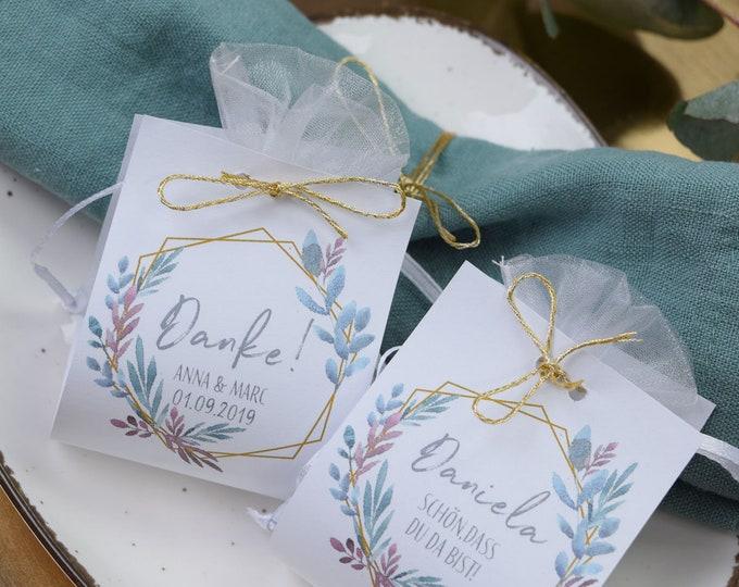 """Guest gift wedding """"boho love"""" vintage, personalized gift for wedding guests, place card, wedding almond"""
