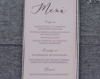 Menu menu wedding motif-flowering lounger