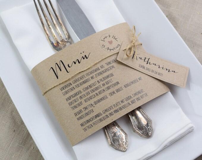 Menu menu, napkins Banderole wedding menu-vintage menu carted-individually printed menu