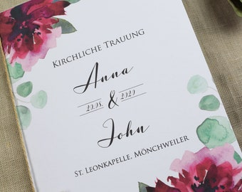 "Church booklet Wedding ""Sage&Weinrot"","", wedding booklet, church wedding ceremony, church leaf wedding"