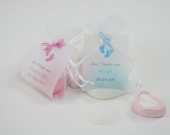 Baptismanded almonds as a guest gift! Blue od. rosé-25 pcs, baptisale gift, guest gift for baptism, personalized gift