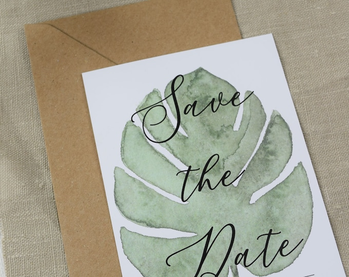 "Save the Date Card Wedding ""Monstera Love,"" Wedding Announcement, Wedding Card, Save the Date Card vintage"