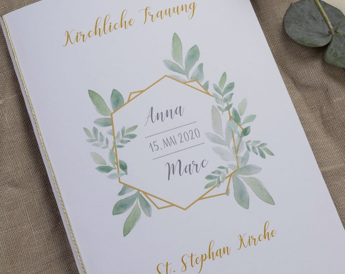 "Featured listing image: Church booklet ""Cover"" Wedding ""Boho-Green"", wedding booklet, church wedding, church journal wedding"