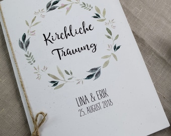 "Church booklet cover wedding ""nature love"", wedding booklet, church wedding, church journal wedding"