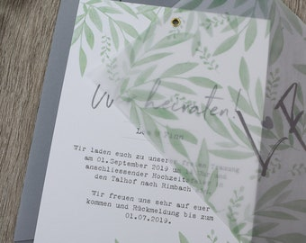 "Wedding invitation ""green love"" A5 including envelope, wedding card, invitation card with transparent paper"