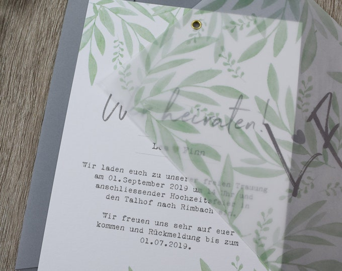 """Wedding invitation """"green love"""" A5 including envelope, wedding card, invitation card with transparent paper"""