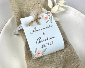 """Guest Gift Wedding """"Apricot&Sage"""" Vintage, Personalized Gift for Wedding Guests, Place Card"""