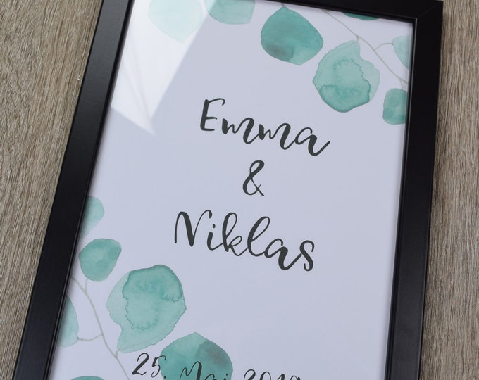 """Poster, guestbook, wedding """"eucalyptus"""" wedding poster, personalized"""