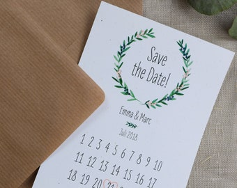"Save the Date Card Wedding ""Wacholder Love"" Calendar Sheet"