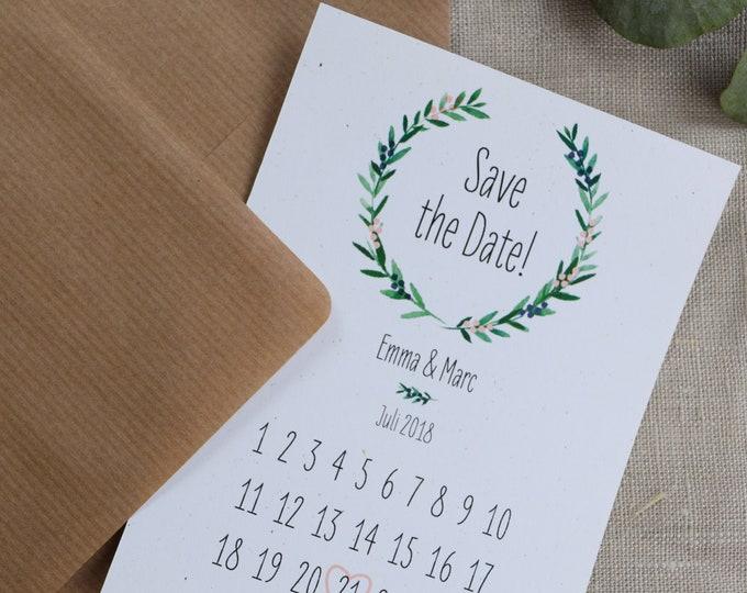 """Save the Date Card Wedding """"juniper Love"""" Calendar Leaf"""