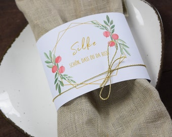 """Napkins Banderole """"festive red berries"""" place card, Christmas decoration, winter wedding"""