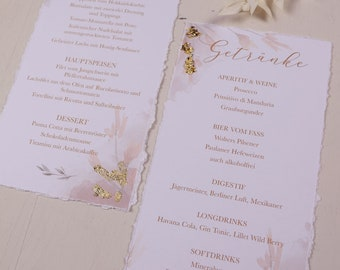 Menu card - Peach & Gold-with gold-coloured decoration