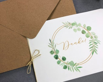 "Thank you card ""RingLove"" to the wedding, folding card to the wedding, individually printed card incl envelope, thanksgiving wedding"