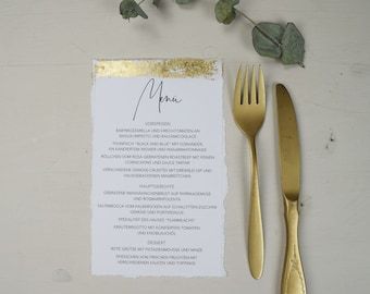 "Menu card wedding motif ""gold-love"" gold embellism"