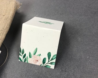 "Place of business card ""Green&Blush"", name plate, wedding"