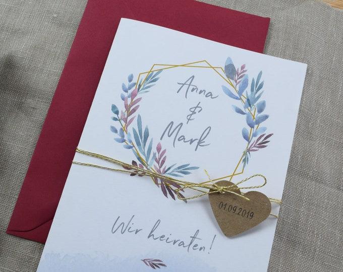 "Wedding invitation ""Boho Love"" invitation card to the wedding, individual wedding card, summer wedding"