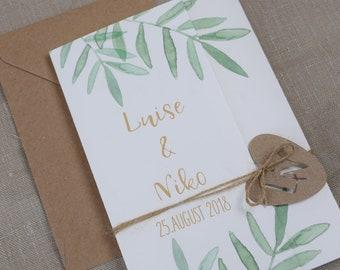Wedding invitation Green love - vintage wedding, wedding card, wedding invitation, card individually printed