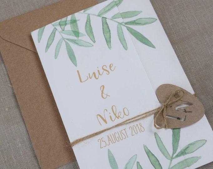 Wedding invitation Green Liebe-vintage wedding, wedding card, wedding invitation to wedding, card individually printed