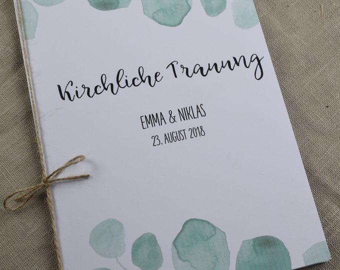 Church booklet, eucalyptus, wedding, wedding, church wedding