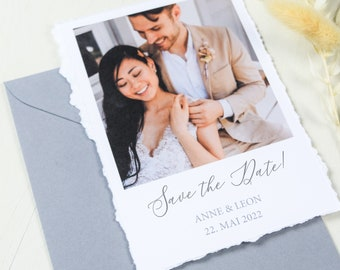 Save the Date Card to Wedding, Ripped Edges, Wedding Card, Fine Art, Polaroid Look