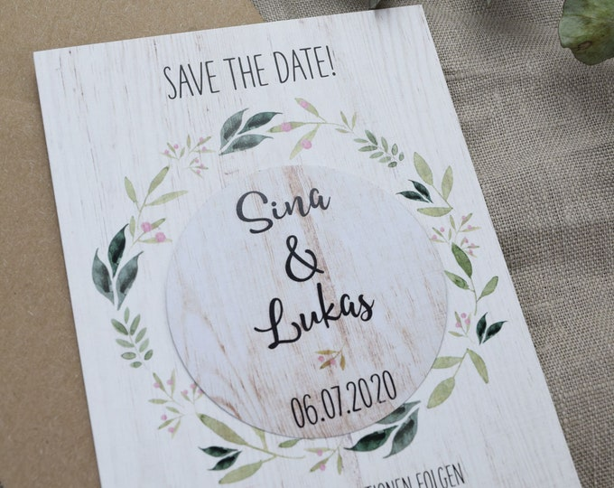 "Save the Date Card Wedding ""Nature Love"" Magnet, Fridge Magnet"
