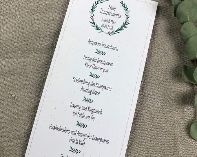 Church booklets Free Wedding Overview including tears of joy