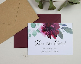 "Save the Date Card Wedding ""Sage&Wine Red"""