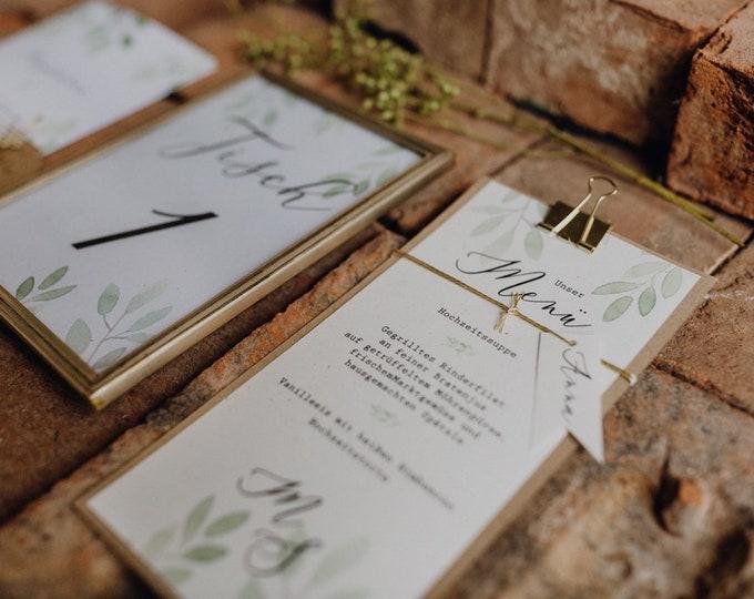 Menu menu wedding motif-watercolor love wedding menu, custom menu