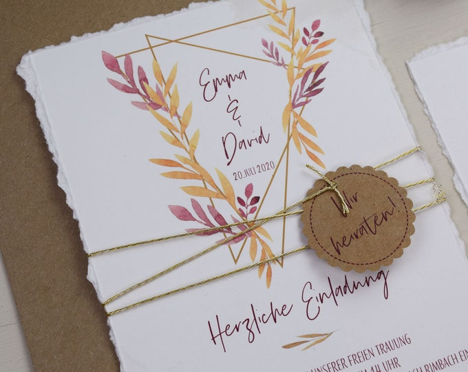 "Wedding Invitation ""Geometric Boho"" B6 incl. Envelope, Wedding Card, Invitation Card in Watercolor Design, Garden Party, Birthday Invitation Card"