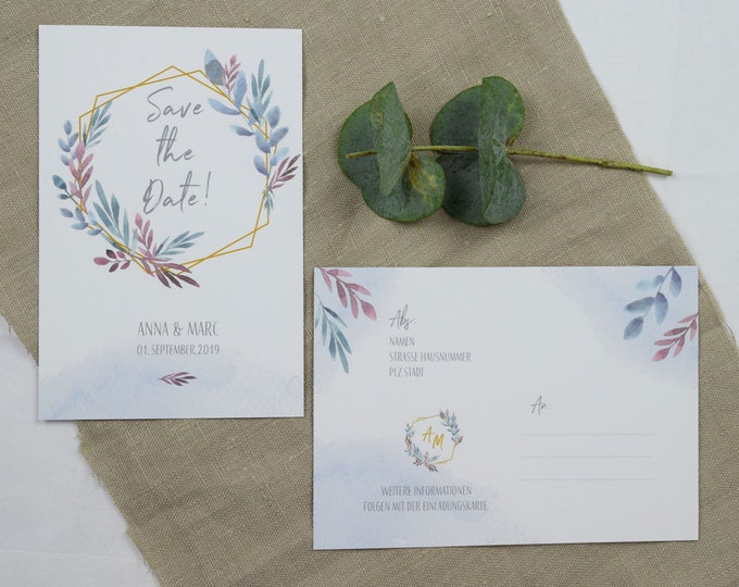 "Save the Date Card Wedding ""Boho Love,"" Wedding Announcement, Wedding Card, Save the Date Card Vintage"