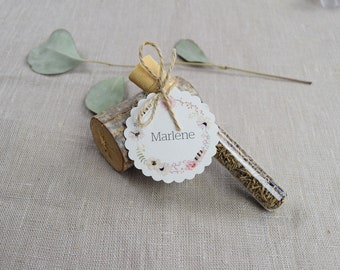 "Guest gift wedding ""Fairytale"" flower meadow, wedding guest gift, custom printed pendant, name card"