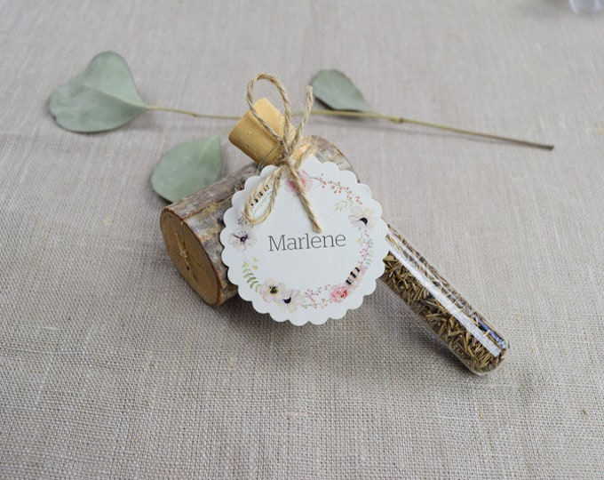 """Guest gift wedding """"fairytale"""" flower meadow, wedding guest gift, individually printed pendant, name card"""