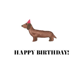 Postcard Dachshund/ Happy Birthday