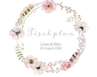 "Table plan ""Fairytale"" for the wedding"