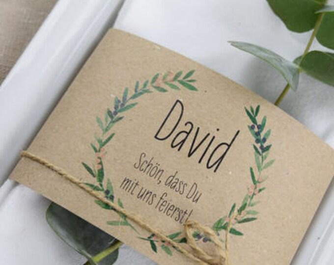 "Table card, napkins banderole ""juniper love"" name card wedding, table card wedding, place card wedding printed"