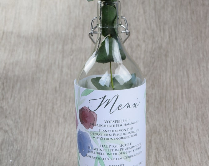 """Bottle banderole wedding """"flower love"""""""