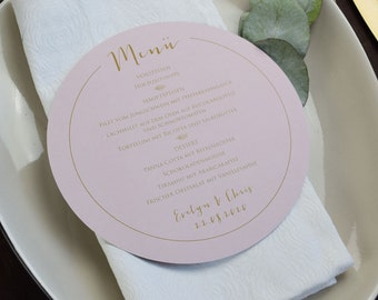 Round menu menu wedding/birthday/baptism motif -blush- wedding menu, wedding menu, fine art wedding
