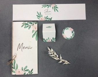 "Papeterie Set Large, ""Green&Blush"", Wedding/Birthday/Baptism, Menu Card, Place Card, Pendant and Napkin Banderole in Set"