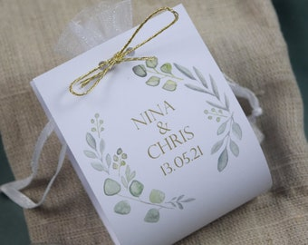 "Guest Gift Wedding ""Sage Love"" Vintage, Personalized Gift for Wedding Guests, Place Card"